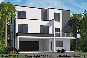 Modern Contemporary flat roof new construction house plans.